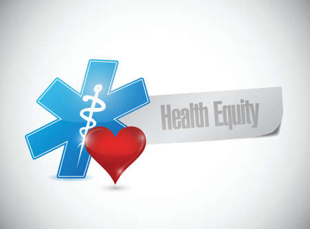 health equity: health equity paper banner illustration design over a white background