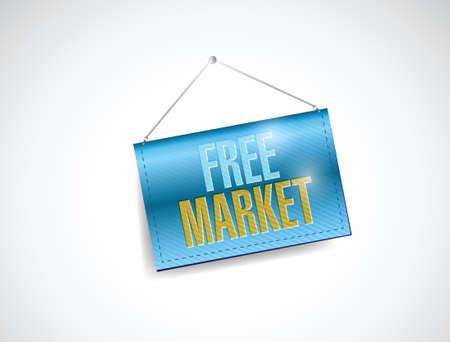 free market hanging banner illustration design over a white background Illustration