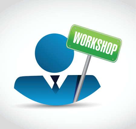 avatar and workshop sign illustration design over a white background Ilustração