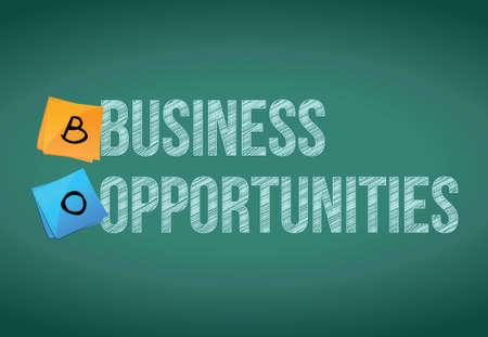 oportunidades de negocio señal y diseño mensajes ilustración sobre un fondo de pizarra