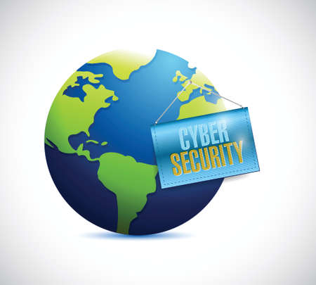 echnology: cyber security globe and banner illustration design over a white background
