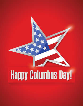 united stated: happy columbus day illustration design over a red background Illustration