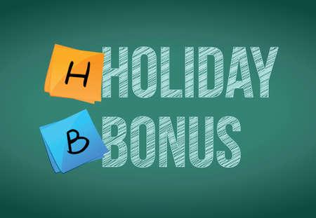 holiday bonus message illustration design over a chalkboard background
