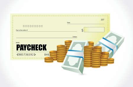 cash money: cheque de pago diseño monedas y billetes ilustración sobre un fondo blanco
