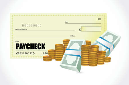 cash: paycheck coins and bills illustration design over a white background