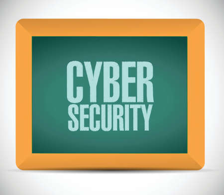 cyber security sign message illustration design over a white background