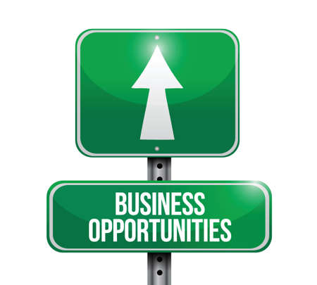 approaching: business opportunities road sign illustration design over a white background