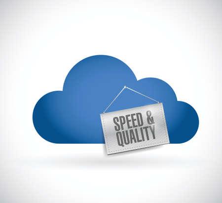 snelheid en kwaliteit wolk en teken illustratie ontwerp op een witte achtergrond