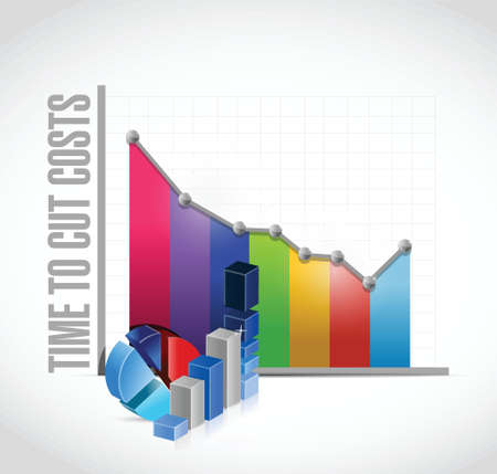 lowering: time to cut costs business graph, illustration design over a white background
