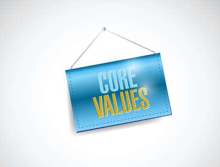 scruples: core values hanging banner illustration design over a white background