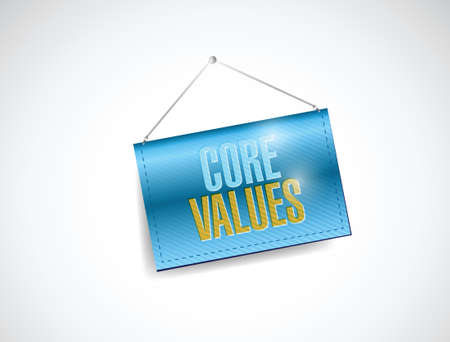 core values hanging banner illustration design over a white background