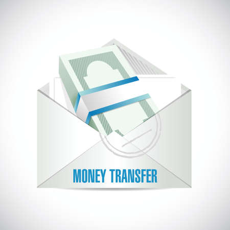 money transfer envelope illustration design over a white background