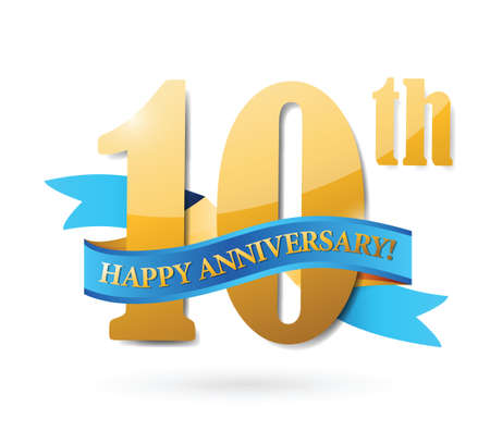 number 10: 10th anniversary ribbon sign illustration design over a white background