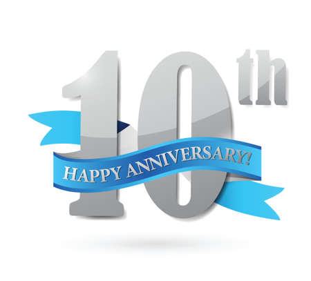 10th: 10th anniversary ribbon sign illustration design over a white background