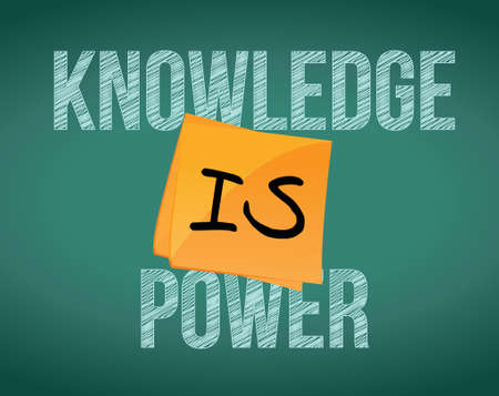 knowledge is power message illustration design over a chalkboard background