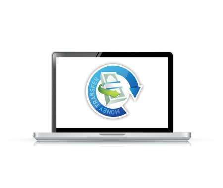 白い背景の上お金転送コンピューター符号のイラスト デザイン