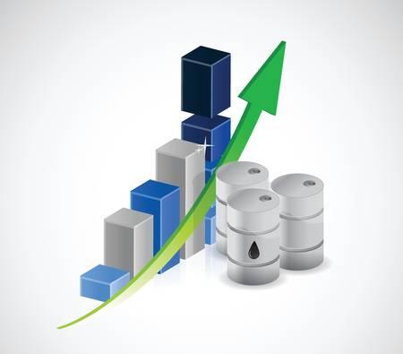 Stijgende olieprijzen illustratie ontwerp op een witte achtergrond Stockfoto - 33980119