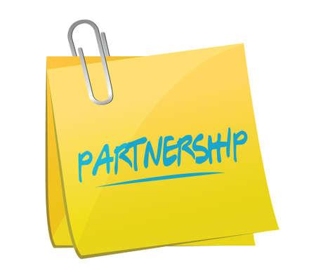 partnership memo post illustration design over a white background