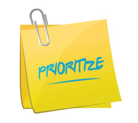 prioriteren bericht memo illustratie ontwerp op een witte achtergrond Stock Illustratie