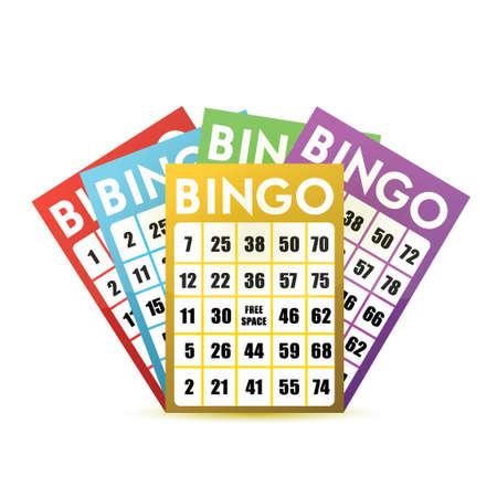 bingo: diseño de tarjetas de bingo ilustración sobre un fondo blanco