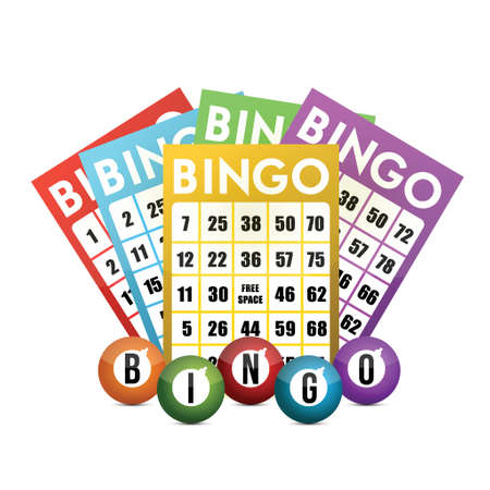 color bingo and balls illustration design over a white background