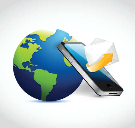 globe, phone email communication. illustration design over a white background
