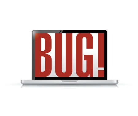 portable failure: bug message on a laptop illustration design over a white background Illustration