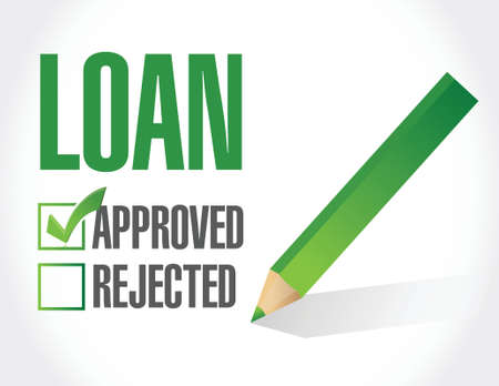market place: loan approved check mark illustration design over a white background