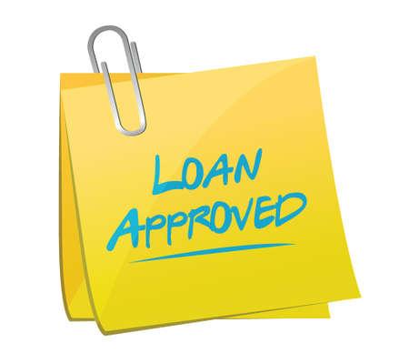 market place: loan approved post it illustration design over a white background Illustration