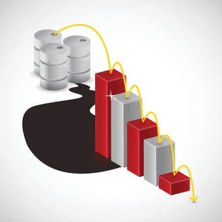 decline in values: falling oil prices illustration design over a white background