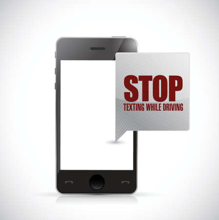 stop texting while driving phone message illustration design over a white background