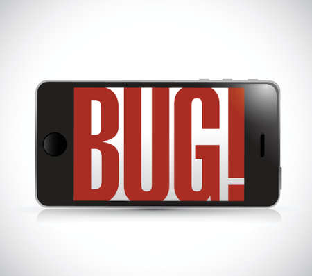 touch screen phone: phone with bug sign illustration design over a white background