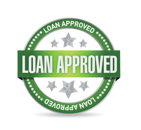 borrower: loan approved seal illustration design over a white background