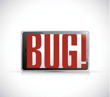 bug tablet sign illustration design over a white background Vector