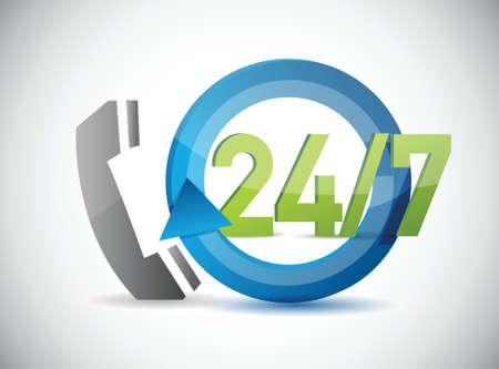 telefoon 24 7 support illustratie ontwerp op een witte achtergrond Stock Illustratie