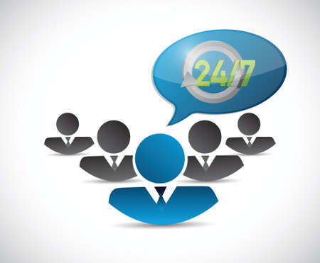 customer service phone: avatar 24 7 message bubble illustration design over a white background