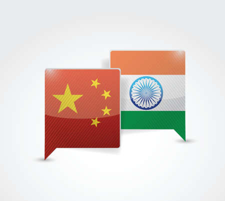 china and india message bubble illustration design over a white background