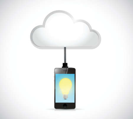 cloud computing phone and light bulb illustration design over a white background
