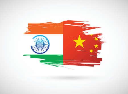 india flag: india and china flag illustration design over a white background