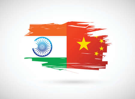 bandera de la india: India y China diseño de la bandera ilustración sobre un fondo blanco