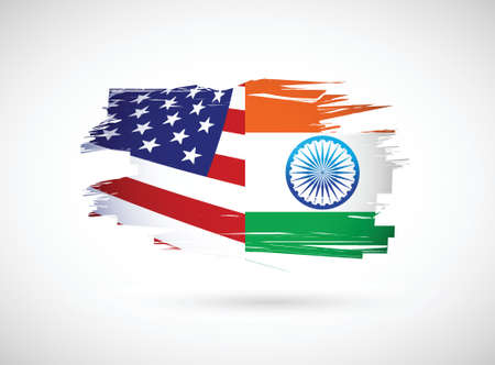 usa and india illustration design over a white background