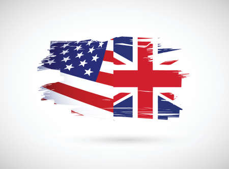 usa and united kingdom illustration design over a white background