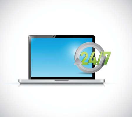 open notebook: laptop 24 7 help support illustration design over a white background Illustration