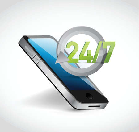 phone 24 7 service illustration design over a white background Illustration