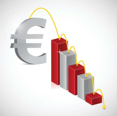 obtain: euro price falling graph illustration design over a white background