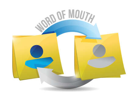 word of mouth: word of mouth memo post cycle illustration design over a white background
