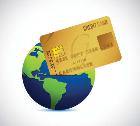 globe and credit card illustration design over a white background Vector