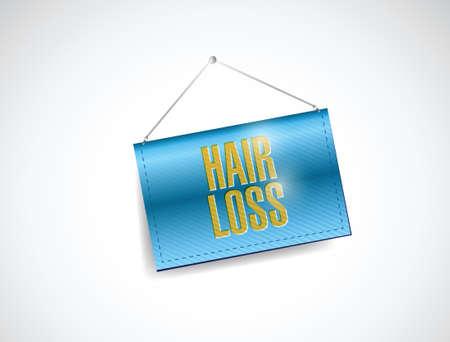 calvicie: la pérdida del cabello bandera ilustración diseño sobre un fondo blanco