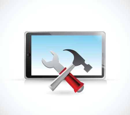 laptop repair: tablet and tools illustration design over a white background