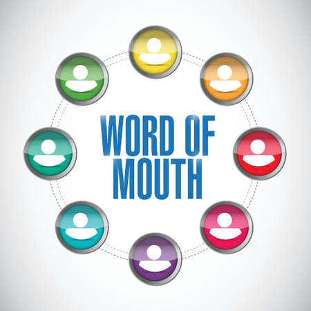 rumor: word of mouth people network illustration design over a white background